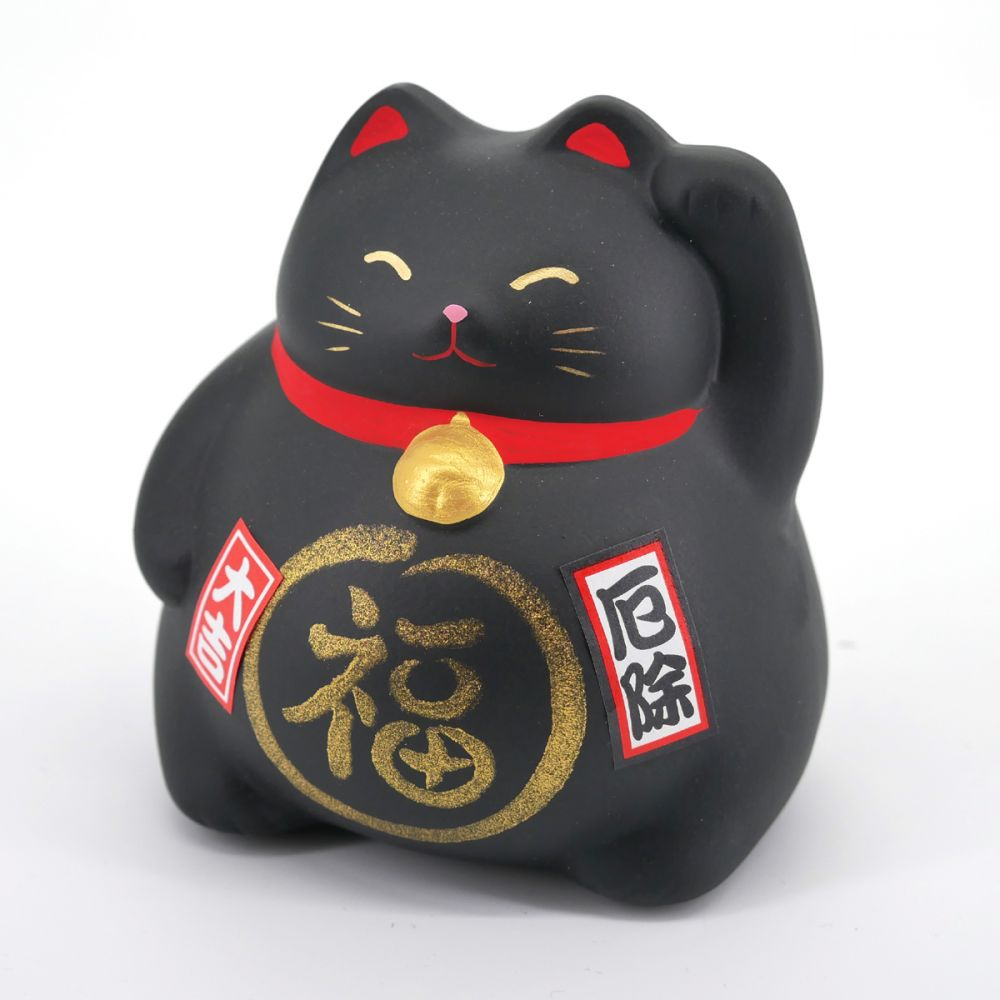 Black lucky cat maneki-neko PROTECT
