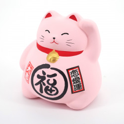 Japanese manekineko cat lucky piggy bank, LOVE, pink