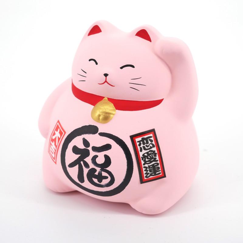 Chat tirelire rose porte-bonheur japonais maneki neko LOVE