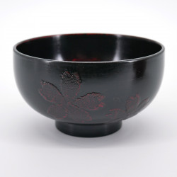 japanese dark brown wooden bowl with sakura flowers patterns AKEBONO