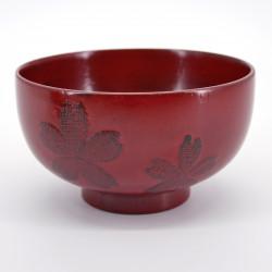 bol en bois motifs fleurs de sakura, NEGORO, rouge