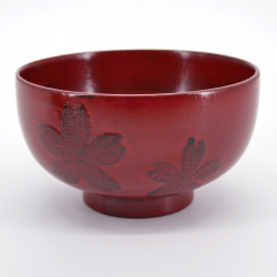 wooden bowl with sakura flowers, NEGORO, red