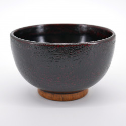 japanese dark brown wooden bowl SÔNUNO AKEBONO