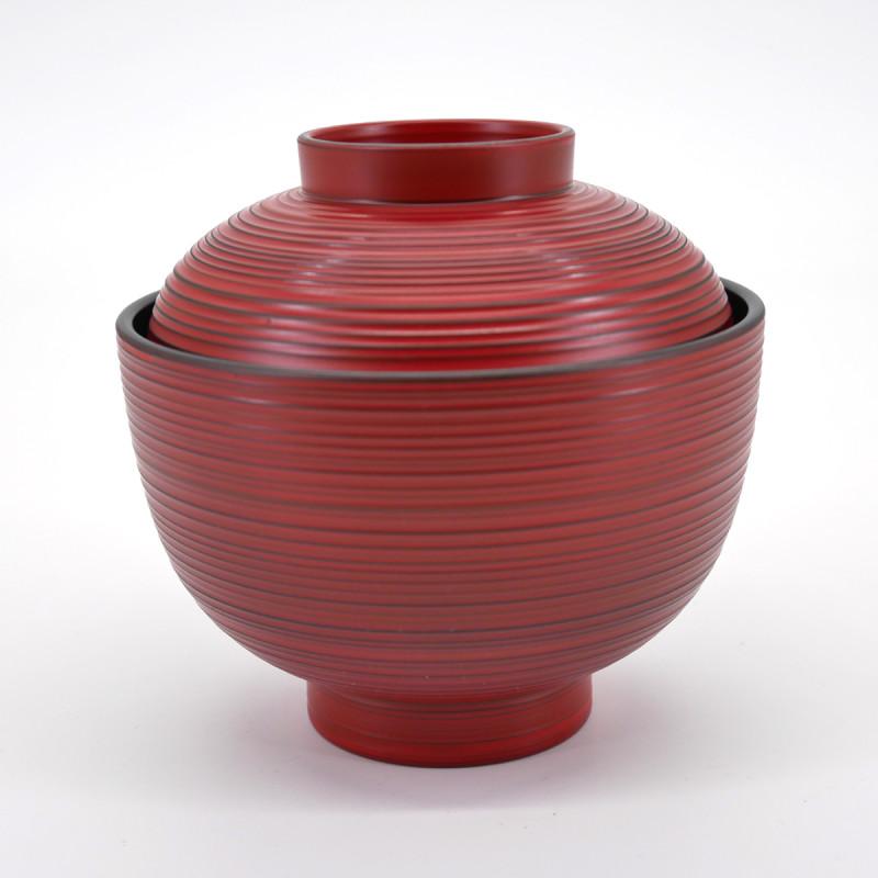bol rouge japonais à couvercle strié KOMARU NEGORO
