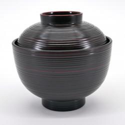 Japanese bowl with ribbed lid, KOMARU KUROKEN, black
