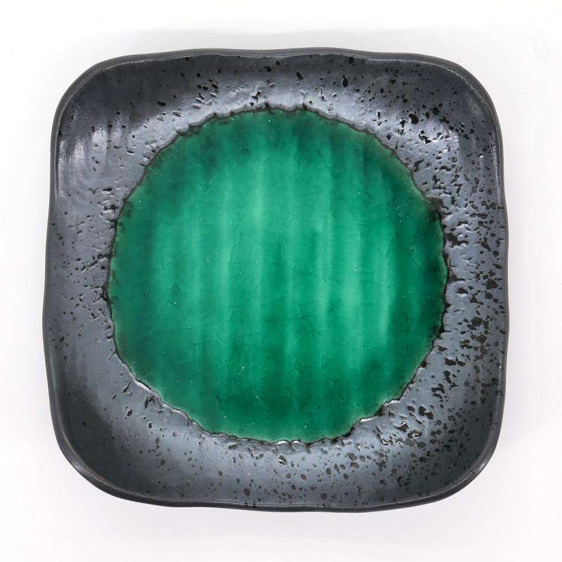 assiette japonaise en céramique carrée verte