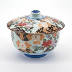 tasse japonaise avec couvercle en porcelaine Botan