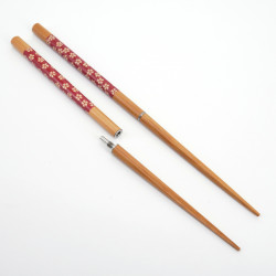 Pair of japanese metal and wooden unscrewable red chopsticks SAKURA TSUNAGI HASHI