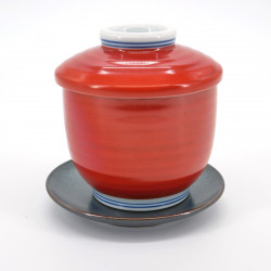 red Japanese chawan mushi cup SHUMAKI BUDO