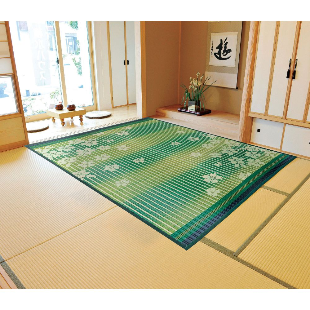 japanese straw square red or green sakura mat carpet OUEN 191x191cm