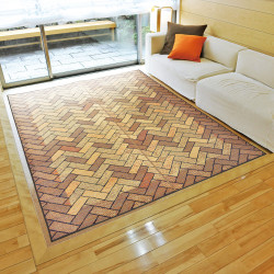 japanese straw brown mat carpet RENGA W191cm
