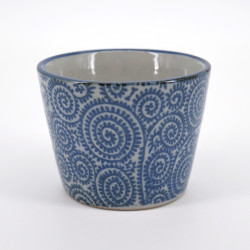 Japanese traditional soba cup with blue patterns in ceramic TAKO-KARAKUSA
