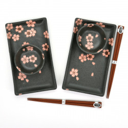 2 plates 2 bowls set with flower patterns and pairs of chopsticks SAKURA NO MAI