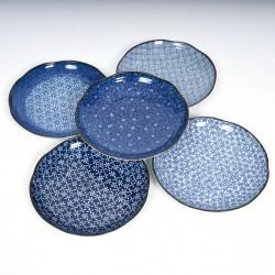 set de 5 assiettes rondes Ø23cm motifs bleus japonais IMAYÔ KOZOME