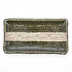 assiette japonaise rectangulaire verte et beige lignes ORIBE