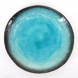 assiette japonaise ronde bleue Ø24cm AIZOME SUKAI