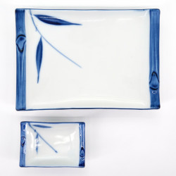 japanese white and blue bamboo plate and dish set FUCHI TAKE GOSU SASA