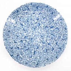 assiette bleue Ø22,5 cm japonaise motifs TAKO KARAKUSA