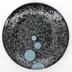 assiette ronde noire ronds bleus japonais Ø25,3cm MARUKOMON