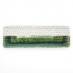 longue assiette 30cm verte japonaise motifs asanoha ORIBE SASHIKO
