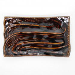 assiette rectangulaire 21cm marron japonaise CARAMEL RYÛSUIGATA