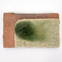 assiette japonaise marron et verte pierre et jardin 21cm IGA KAIYÛ