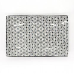 assiette rectangle courbée motifs sashiko japonais ASANOHA