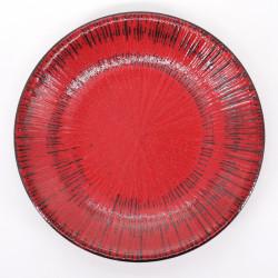 assiette ronde Ø23,7cm rouge japonaise NEGORO SENDAN