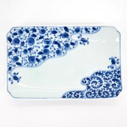 japanese rectangular sushi plate, KUMO RYU KARAKUSA, white and blue