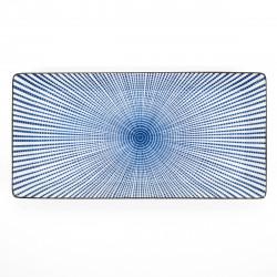 japanese rectangular sushi plate, SENDAN TOKUSA, blue