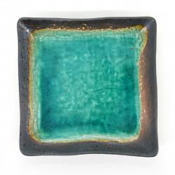 assiette carrée verte en céramique 18x18cm RYOKUSAI