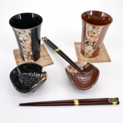 japanese red and black cups bowls chopsticks set KAGA YÛZEN