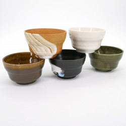 japanese 5 ceramic bowls set RAKU KAMA AN IPPUKU, 5 colors