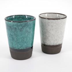 duo de tasses turquoise et blanche 8x6cm MINI CUP TORUKO WHITE