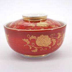 japanese red golden flower patterns bowl with lid AKAMAKI KARAKUSA