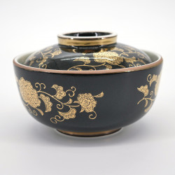 japanese black traditional gold bowl with lid KURO KIN KARAKUSA