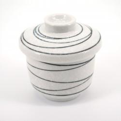tasse blanche japonaise à couvercle lignes noires KOHIKI LINE