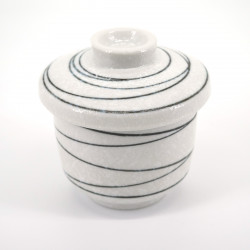 White japanese tea bowl with lid - chawanmushi - KOHIKI LINE