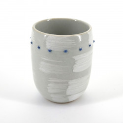 japanese white brush and blue dots teacup SHIROHAKE DOT