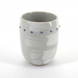 tasse blanche japonaise pinceau points bleus SHIROHAKE DOT