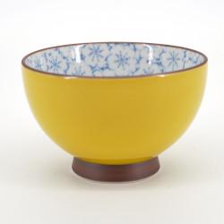 tasse japonaise jaune intérieur fleur sakura bleu KISAKURA