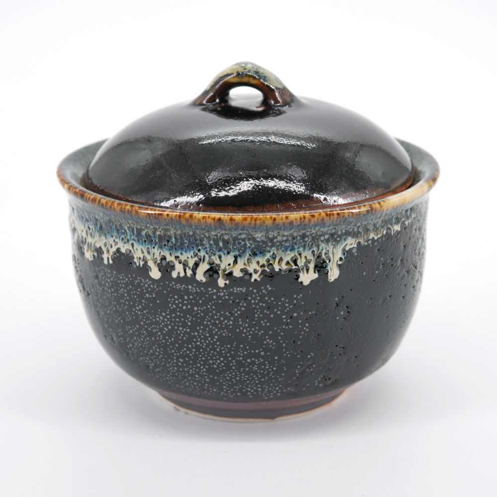 japanese traditional blue black bowl with lid YUZU TENMOKU SHIRAITO