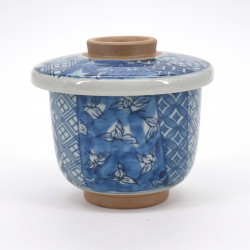 Blue japanese tea bowl with lid - chawanmushi - SHÔZUI HANA