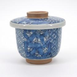 tasse traditionnelle japonaise motifs bleus à couvercle SHÔZUI HANA