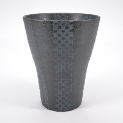japanese black wave patterns tall cup 12,3cm GINSAI KURO