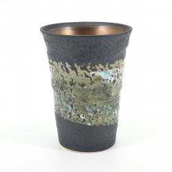 japanese black silver rustic teacup KUROMAKI KINSAI