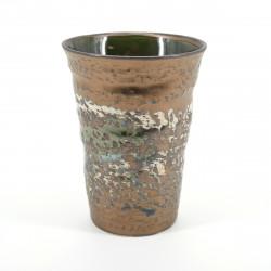 tasse japonaise rustique dorée blanche KINMAKI ORIBE