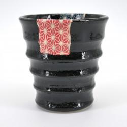 taza de té japonés, KURO UWAGUSURI ASANOHA, patrones azules y rojos