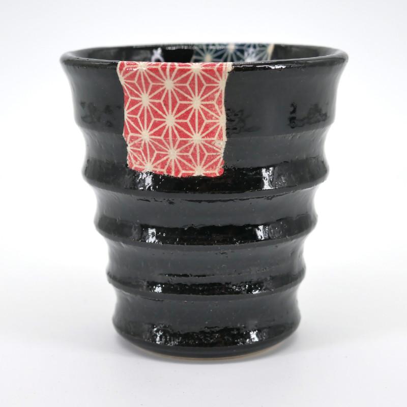tasse noire motifs bleus rouge sashiko KURO UWAGUSURI ASANOHA