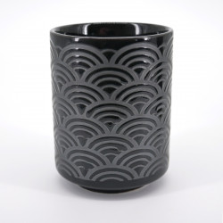 japanese black silver waves teacup SEIGAIHA KURO